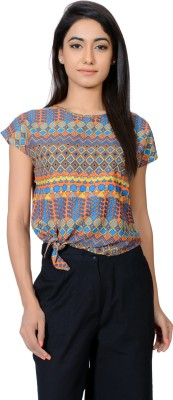 Juniper Casual Short Sleeve Printed Women's Orange Top