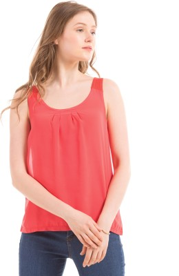 Prym Casual Sleeveless Solid Women's Red Top