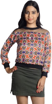 Oomph Factor Casual, Party Full Sleeve Printed Women's Multicolor, Red, Blue, Black Top