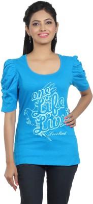 ALIEP Casual Short Sleeve Solid Women's Blue Top