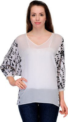 Fashionwalk Casual 3/4 Sleeve Graphic Print, Solid Women's Black, White Top