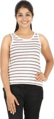 HALF INCH Casual Sleeveless Striped Women's White Top