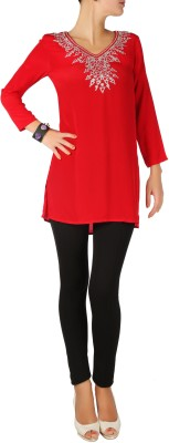 Karmik Casual Full Sleeve Solid Women's Red Top