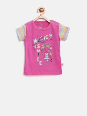 Baby League Casual Short Sleeve Graphic Print Baby Girl,s Pink Top
