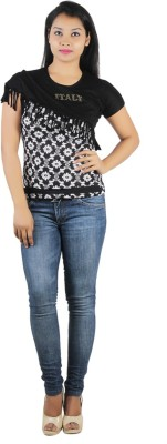 Western World Casual Cap sleeve Printed Women's Black Top