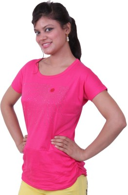 Austrich Casual Short Sleeve Solid Women's Pink Top