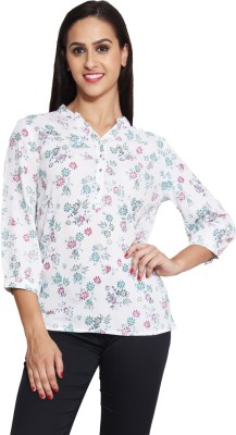 Panit Casual 3/4 Sleeve Floral Print Women,s White, Multicolor Top