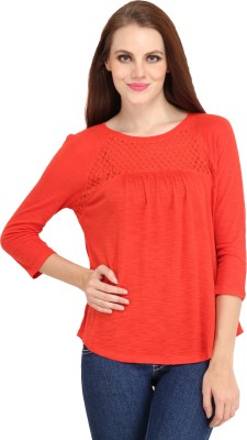 My Addiction Casual 3/4 Sleeve Solid Women's Orange Top