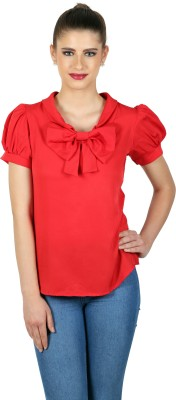 eyelet Casual, Party, Lounge Wear Roll-up Sleeve Solid Women's Red Top