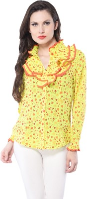 Trendy Divva Casual Full Sleeve Printed Women's Yellow Top