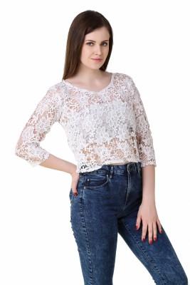 BrandMeUp Casual, Formal, Beach Wear, Festive, Lounge Wear 3/4 Sleeve Self Design Women's White Top