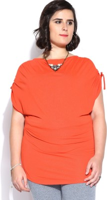 D Muse by DressBerry Casual Short Sleeve Solid Women's Orange Top