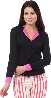 I Know Casual Full Sleeve Solid Women,s Black Top