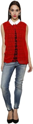 Sea Lion Casual Sleeveless Printed Women's Red Top