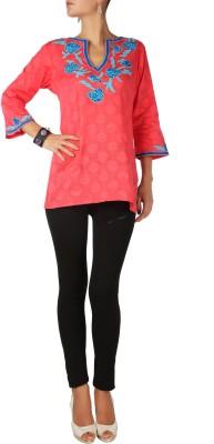 Karmik Casual 3/4 Sleeve Applique Women's Red Top