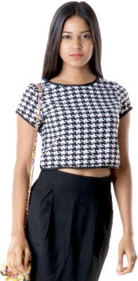 RovingMode Casual Short Sleeve Houndstooth Women's Multicolor Top