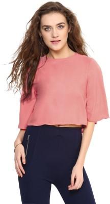 Uptownie Lite Casual 3/4 Sleeve Solid Women's Pink Top
