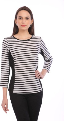 Legona Casual Full Sleeve Striped Women's Black, White Top