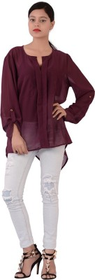 Fashnopolism Casual Full Sleeve Self Design Womens Maroon Top