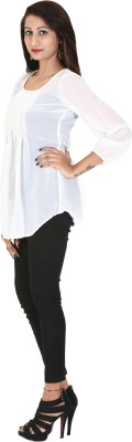 Rich Creations Casual, Party 3/4 Sleeve Solid Women's White Top