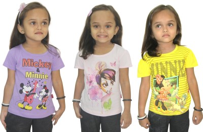 Disney Casual, Party Short Sleeve Graphic Print Girl's Purple, Pink, Yellow Top