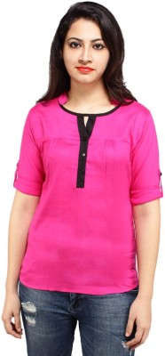 Styles Clothing Casual 3/4 Sleeve Solid Women's Pink Top