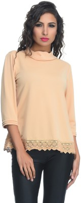 Rare Party 3/4 Sleeve Solid Women's Beige Top
