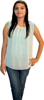 Shonaa Casual Sleeveless Solid Women's White, Green Top