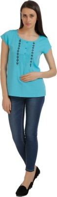 Holidae Casual Short Sleeve Solid Women's Light Blue Top