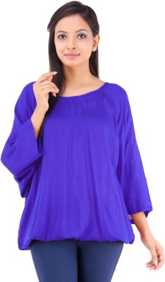 Inblue Fashions Casual 3/4 Sleeve Solid Women's Blue Top