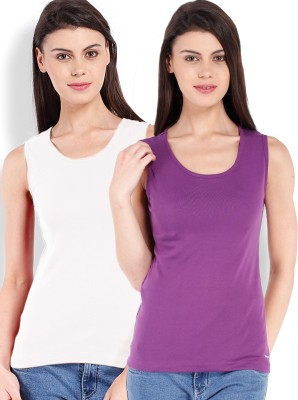 Beyouty Casual Sleeveless Solid Women's Purple, White Top