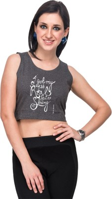 Campus Sutra Casual Sleeveless Printed Women's Grey Top