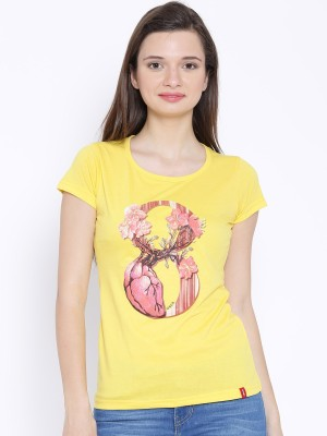 Oner Casual Short Sleeve Printed Women's Gold Top