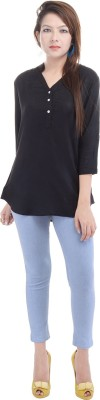 Fantasy Ika Casual 3/4 Sleeve Printed Women's Black Top