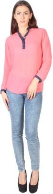 Kg&S Casual 3/4 Sleeve Solid Women's Maroon Top