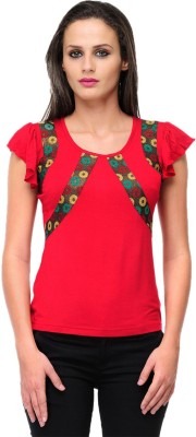 Milimoto Casual Short Sleeve Solid Women's Red Top