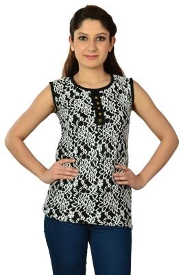 V2k Fashion Casual Sleeveless Self Design Women's Black, White Top