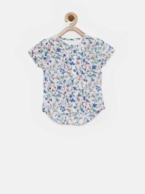 Yk Casual Cap sleeve Printed Girl's White Top