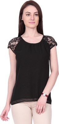 IDENTITI Casual Cape Sleeve Solid Women's Black Top