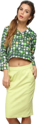 Vodka Fashion India Casual 3/4 Sleeve Printed Women's Green Top
