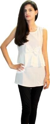 Shonaa Casual Sleeveless Solid Women's White Top