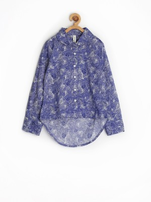 Yellow Kite Casual Full Sleeve Printed Girl's Blue Top