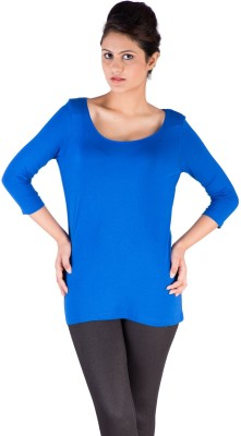 De Moza Casual 3/4 Sleeve Solid Women's Blue Top