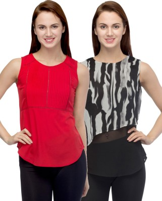 Primo Knot Casual Sleeveless Printed Women's Red, Black, Beige Top