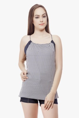Miss Queen Casual Sleeveless Checkered Women's Black, White Top