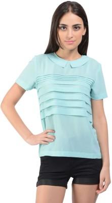 Oranje Casual Short Sleeve Solid Women's Light Green Top