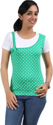 Maringo Classic Casual Short Sleeve Polka Print Women's Green, White Top