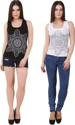 Yati Casual Sleeveless Printed Women's Black, White Top