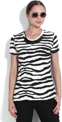 Van Heusen Casual Short Sleeve Striped Womens White, Black Top
