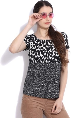 Vanheusen Casual Short Sleeve Printed Womens White, Black Top